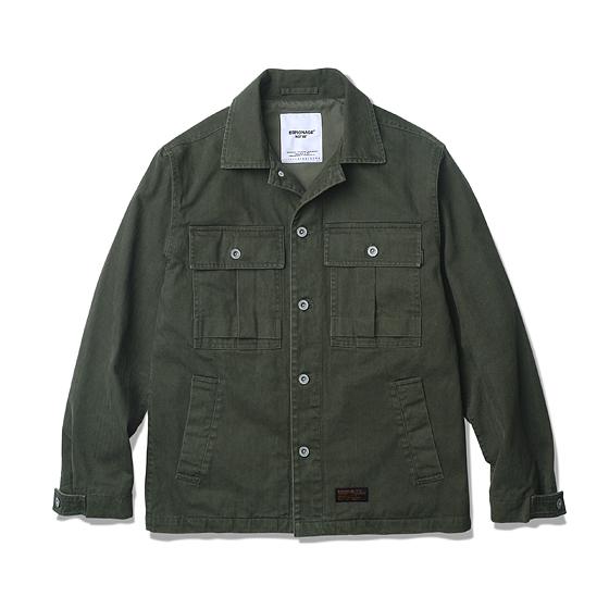 "<span style=""font-family:NanumGothic; font-size:15px; font-weight:bold;"">Stack HBT 4P Jacket Olive</span><br /><span style=""font-family:NanumGothic; font-size:11px;"">WWll US Army HBT Field Shirt를 모티브로 하여 자켓 형태로의 전환를 시도한 제품입니다. 밀리터리 장르에서 빼놓을 수 없는 HBT(Herringbone Twill)원단의 경우 다양한 국가의 밀리터리 및 워크웨어 장르에서 사용되어 왔으며 특히 WWll 당시 높은 밀도로 제직되어 전시에도 활용되어 왔습니다. 2015-16 A/W Season에 새롭게 제직된 HBT원단은 당시의 헤비함과 고시감을 그대로 재현해 낸 원단이며 오랜 사용 기간에도 충분한 가치가 존재할 수 있도록 원단의 선택에 있어서 많은 노력을 기울인 제품입니다. 또한 새롭게 적용 된 전면 밀리터리 포켓은 1950년대의 오리지널 제품과 동일하게 표현되어 터프한 외형을 느끼실 수 있으며 일반적인 밀리터리 셔츠와 달리 사이드포켓을 추가하여 수납성, 실용성을 강조하였습니다. 밀도 높은 Cotton Twill 원단의 안감을 적용함으로써 셔츠이면서도 완전한 하나의 자켓 형태로 변형했습니다. </span><br /><a href=""http://www.wherehouse.co.kr/shop/shopdetail.html?branduid=732682&xcode=041&mcode=002&scode=002&type=Y&sort=order"" target=""_blank""><span style=""font-size:11px; color:#FFE400;"">BUY NOW</span></a>"