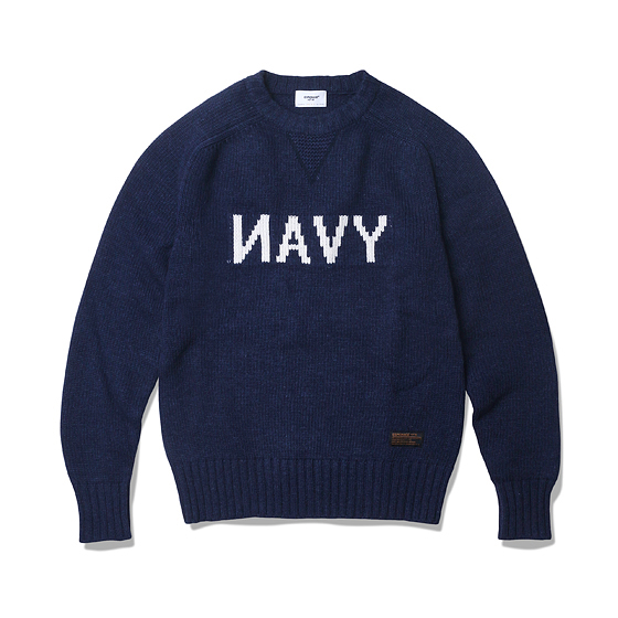 "<span style=""font-family:NanumGothic; font-size:15px; font-weight:bold;"">NAVY Heavy Knit Navy</span><br /><span style=""font-family:NanumGothic; font-size:11px;"">이번시즌부터 새롭게 선보이는 니팅원단은 일반적으로 편직 된 편직물에 비해 도목이 좁게 짜여져 밀도가 굉장히 높아 오랜 사용 기간에도 충분한 가치가 존재할 수 있도록 편직물 선택에 있어서 많은 노력을 기울였습니다. Merino Wool(Australia) 70% / Nylon 30% 15수 단사로 6합을 넣어 5GG Jacquard로 편직 된 Heavyweight(600g/yd²) 니팅으로 어깨에서 소매 부분으로  자연스럽게 내려오는 패턴으로 제작되어 착용 시 편안함을 강조하였습니다. 또한 Bulk Up된 원사 표면에 Napping(起毛,기모)작업으로 광택을 줄였으며 최종적으로 원사의 거친 느낌을 표현하기 위해 러프한 후반가공을 통하여 제품 원사의 완성도 또한 높였습니다.전면에 NAVY 그래픽은 니트 편직 중에 난이도가 높은 인타샤 자카드로 편직되었으며 넥라인은 더블단으로 적용하여 에스피오나지의 밀리터리 감성을 충분히 곁들인 제품입니다. </span><br /><a href=""http://www.wherehouse.co.kr/shop/shopdetail.html?branduid=732759&xcode=041&mcode=002&scode=002&type=Y&sort=order"" target=""_blank""><span style=""font-size:11px; color:#FFE400;"">BUY NOW</span></a>"