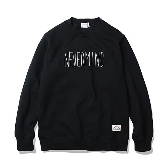 "<span style=""font-family:NanumGothic; font-size:15px; font-weight:bold;"">Never Mind Sweat Shirt Black</span><br /><span style=""font-family:NanumGothic; font-size:11px;"">1991년 얼터너티브 락 장르를 위시함과 동시에 역사에 길이 남을 앨범인 NIRVANA의 두번째 정규 앨범인 'NEVER MIND'에 대하여 Tribute 형식으로 기획 및 디자인된 제품입니다.생전 스웻셔츠 제품을 즐겨 입었던 Kurt Cobain의 룩과 실제 그가 겪은 라이프 스타일에서 많은 부분 영감을 얻어 디자인되었습니다. 블랙 컬러 바디와 직접 수기로 작성된 'NEVER MIND' 캘리그래피에서 당시의 그런지 무드와 러프한 분위기를 충분히 느낄 수 있습니다.</span><br /><a href=""http://www.wherehouse.co.kr/shop/shopdetail.html?branduid=727593&xcode=027&mcode=001&scode=&type=Y&sort=order"" target=""_blank""><span style=""font-size:11px; color:#FFE400;"">BUY NOW</span></a>"