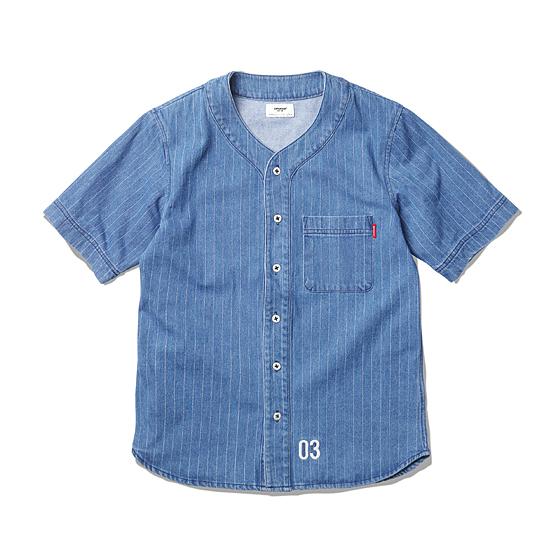 "<span style=""font-family:NanumGothic; font-size:15px; font-weight:bold;"">Paxon Denim Baseball Shirts Blue</span><br /><span style=""font-family:NanumGothic; font-size:11px;"">과거 베이스볼 져지의 연구를 통해 재해석하여 디자인 된 아이템 중 하나인 제품이기도 합니다. 이번시즌 역시 그 연장선으로 기획 및 디자인 된 베이스볼 져지 제품이며 발염기법의 도트 스트라이프 패턴이 인상적인 데님원단으로 디자인 된 아이템입니다. 본래의 진한 인디고 컬러의 원단을 바탕으로 섬세한 워싱가공을 통해 S/ S시즌에 어울리는 비주얼의 블루 컬러를 만들어냈으며, 데미지 워싱 특유의 효과로 야구져지 고유의 Y자 형태 디테일을 별도의 작업 없이 연출 할 수 있었습니다. 제품의 하단에는 베이브 루스의 백넘버인 03넘버가 자수 디테일로 위치해 있으며 메인 플래킷에는 Made In USA의 멜라민 버튼을 사용하여 부분의 완성도 또한 높일 수 있었습니다.</span><br /><a href=""http://www.wherehouse.co.kr/shop/shopdetail.html?branduid=728731&xcode=029&mcode=003&scode=&type=Y&sort=order"" target=""_blank""><span style=""font-size:11px; color:#FFE400;"">BUY NOW</span></a>"
