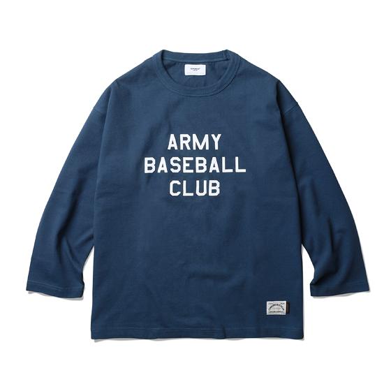 """<span style=""""font-family:NanumGothic; font-size:15px; font-weight:bold;"""">ABC LS T-Shirt Navy</span><br /><span style=""""font-family:NanumGothic; font-size:11px;"""">2014 AW 시즌에서 처음 선보인 가상의 야구 클럽 'ARMY BASEBALL CLUB'을 Long Sleeve Baseball T-shirt로 해석한 아이템입니다. 싱글 원사로 제직된 단단한 10수의 원단을 사용해 과거 베이스볼 클럽의 분위기를 모티브로 하고 있으며 어깨선이 소매하단으로 넘어가는 드롭트숄더 슬리브패턴(Dropped Shoulder Sleeve)을 사용해 일반적인 Raglan Sleeve 제품과는 달리 패턴의 특징이 잘 살아있는 제품입니다.  또한 낮은 채도의 컬러를 사용해 과거의 빈티지한 분위기를 충실하게 재현하고 있는 제품입니다. 오랜 기간동안 벗겨지지 않도록 좋은 품질의 나염 원료를 사용해 고압으로 전후면 그래픽을 마감하여 디테일의 내구성 또한 신경 쓴 제품입니다. 이너웨어 뿐만 아니라 단독으로 착용하셔도 좋은 룩을 만드실 수 있는 완성도 높은 제품입니다.</span><br /><a href=""""http://www.wherehouse.co.kr/shop/shopdetail.html?branduid=729537&xcode=029&mcode=003&scode=&type=Y&sort=order"""" target=""""_blank""""><span style=""""font-size:11px; color:#FFE400;"""">BUY NOW</span></a>"""