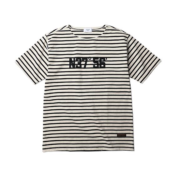 """<span style=""""font-family:NanumGothic; font-size:15px; font-weight:bold;"""">Coordinate Stripe Boat Neck S/S T-shirt Iovry/Black</span><br /><span style=""""font-family:NanumGothic; font-size:11px;"""">2015 SS 'SMOKE' 'DRY' 'TEENAGER'시즌 새롭게 선보이는 Short Sleeve Boat Neck T-shirt로 원사를 긁어내 다소 거친 느낌을 표현한 기본 20's 2합으로 제직된 10's Heavyweight Cotton 원단을 사용했으며 밀도감과 KITTING원단으로서 높일 수 있는 최대의 고시감을 느낄 수 있도록 제직에 각별히 신경을 쓴 제품입니다. 특히 가슴 전면 ESPIONAGE OG 로고에 적용된 서울의 위도 및 경도의 좌표가 은은하게 안료로 처리되었으며 착용 시 루즈한 분위기를 느낄 수 있도록 패턴 수정을 가미해 Short Sleeve Boat Neck T-shirt 에 걸맞은 최종 패턴을 완성 시켰습니다. 더불어 제품 본봉 후 별도의 최종 워싱으로 인한 제품의 고정화를 통해 수축률을 줄인 것이 높은 장점으로 어필되는 제품이라고 할 수 있습니다. </span><br /><a href=""""http://www.wherehouse.co.kr/shop/shopdetail.html?branduid=729671&xcode=029&mcode=003&scode=&type=Y&sort=order"""" target=""""_blank""""><span style=""""font-size:11px; color:#FFE400;"""">BUY NOW</span></a>"""