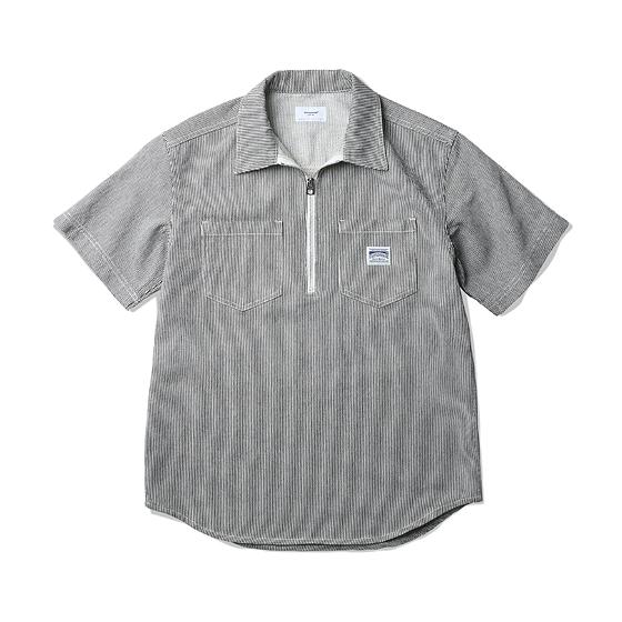 "<span style=""font-family:NanumGothic; font-size:15px; font-weight:bold;"">Joy Zip Pullover Shirt Stripe</span><br /><span style=""font-family:NanumGothic; font-size:11px;"">과거 1940년대 말부터 현재에 이르기까지 주로 워크웨어에서 볼 수 있었던 Hickory Stripe Short Sleeve Shirt(Zipper Type) 제품을 ESPIONAGE만의 둔탁함으로 마무리해 복각완성에 중점을 둔 제품입니다. 소형의 지퍼를 이용한 일반적인 Zip-Up 스타일의 제품과 달리 새롭게 선보이는 큰 사이즈의 ESPIONAGE 음각 로고 금속 지퍼풀러를 사용해 제품의 터프함을 최대한 살려냈으며 자켓을 생산하는 공장에서 본봉을 Chain stitch로 마무리해 완성도를 높인 제품입니다. 더불어 Pullover 스타일과 Short Sleeve 제품의 단점을 정확하게 파악한 뒤 패턴수정을 통해 핏(Fit)을 충분히 개선하여 사이즈 선택에 따라 최종 핏(Fit)을 자유롭게 연출할 수 있습니다. 견고함이 우선시되는 워크셔츠의 특성상 헤비한 두께의 Hickory Stripe 원단을 사용했으며 단독 착용 및 레이어드를 통해 가을까지 착용이 가능한 아이템입니다. </span><br /><a href=""http://www.wherehouse.co.kr/shop/shopdetail.html?branduid=729813&xcode=029&mcode=003&scode=&type=Y&sort=order"" target=""_blank""><span style=""font-size:11px; color:#FFE400;"">BUY NOW</span></a>"