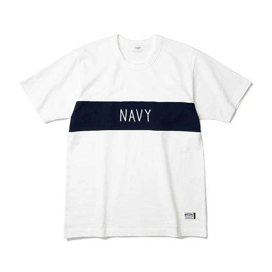 """<span style=""""font-family:NanumGothic; font-size:15px; font-weight:bold;"""">NAVY Heavyweight Tee Off White/Navy</span><br /><span style=""""font-family:NanumGothic; font-size:11px;"""">Espionage에서 직접 시직하고 제직한 Original 10's Ringspun Yarn(오리지널 10수 링 원사) Heavyweight Cotton을 바탕으로 높은 밀도로 제직 되어 Knitting 원단임에도 낮은 수축률과 적절한 고시감까지 느낄수 있으며 특히 제품의 완성 후 한 차례 워싱까지 작업해 후반 가공에 있어서도 심혈을 기울인 제품입니다. 또한 적당한 둘레의 넥 라인과 넓은 폭(2.7cm)의 Normal Folder 방식은 과거 빈티지 제품들을 철저히 분석 후 제작되어 오랜기간 착용하셔도 목 늘어짐이 적게끔 완성되었습니다. 또한 세계 2차대전 시 미 해군에게 지급되었던 담요(US.NAVY Blanket)를 모티브로 하여 디자인 한 NAVY 타이포그래피 체인자수는 1960년대에 빈티지 의류에서 볼 수 있는 자수 기법을 사용하였으며 가슴절개와 더불어 이번 티셔츠 라인업에서 기술적으로 완성도 높은 제품입니다.</span><br /><a href=""""http://www.wherehouse.co.kr/shop/shopdetail.html?branduid=737405"""" target=""""_blank""""><span style=""""font-size:11px; color:#FFE400;"""">BUY NOW</span></a>"""