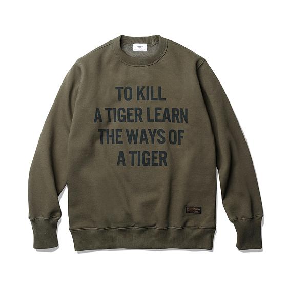 """<span style=""""font-family:NanumGothic; font-size:15px; font-weight:bold;"""">TKT Sweat Shirts Olive</span><br /><span style=""""font-family:NanumGothic; font-size:11px;"""">가장 기본적인 아이템이지만 다양한 시즌에 활용할 수 있도록 자칫 간과할 수 있는 제품의 밀도와 무게 역시 놓치지 않은 제품이며 다소 서늘한 날씨에도 최소한의 보온을 위해 내부 기모(起毛, Napping)처리가 된 원단을 사용했습니다. 코튼 원사를 사용해 낮은 두께에도 그에 비해 밀도가 높아 늘어짐이 없는 것이 큰 장점인 제품입니다. 전면에는 Espionage 2016 S/S 시즌 테마 """"Hard Worker Blues"""" 의 워드 중 하나로 1960년대 후반 베트남 전쟁 시 미 육군 25사단 보병대 슬로건이였던 """"To Kill A Tiger Learn The Ways Of a Tiger"""" 문구가 나염처리 되어있으며 원단의 밀도에 맞는 튼튼한 재봉으로 완성도를 최대한 높인 제품이라 할 수 있습니다.</span><br /><a href=""""http://www.wherehouse.co.kr/shop/shopdetail.html?branduid=735415"""" target=""""_blank""""><span style=""""font-size:11px; color:#FFE400;"""">BUY NOW</span></a>"""