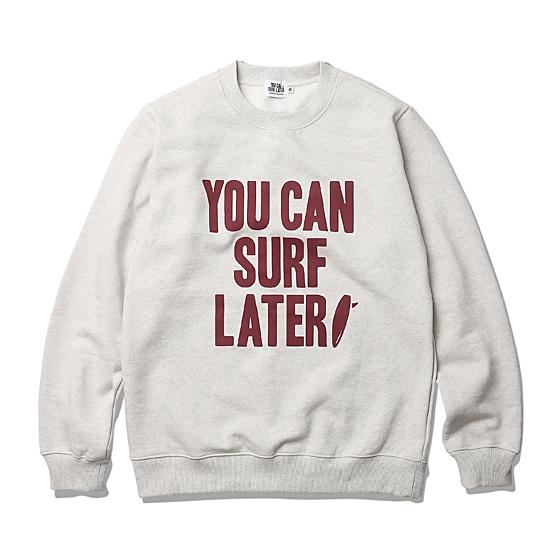 """<span style=""""font-family:NanumGothic; font-size:15px; font-weight:bold;"""">YCSL OG Logo Sweat Shirt Oatmeal</span><br /><span style=""""font-family:NanumGothic; font-size:11px;"""">멜란지 원사가 포함된 스웻 셔츠 제품입니다. 가장 기본적인 아이템이지만 다양한 시즌에 활용할 수 있도록 자칫 간과할 수 있는 제품의 밀도와 무게 역시 놓치지 않은 제품이며 다소 서늘한 날씨에도 최소한의 보온을 위해 내부 기모(起毛, Napping)처리가 된 원단을 사용했습니다. 코튼 원사를 사용해 낮은 두께에도 그에 대비해 밀도가 높아 늘어짐이 없는 것이 큰 장점인 제품입니다. 'YOU CAN SURF LATER' 타이포그래피가 전면에 나염으로 적혀 있으며 고압력 및 고열의 특수 나염 처리 방식을 사용하여 오랜 사용감에도 데미지가 적도록 제작된 완성도 높은 스웻 제품입니다.</span><br /><a href=""""http://www.wherehouse.co.kr/shop/shopdetail.html?branduid=728141&xcode=029&mcode=003&scode=&type=Y&sort=order"""" target=""""_blank""""><span style=""""font-size:11px; color:#FFE400;"""">BUY NOW</span></a>"""