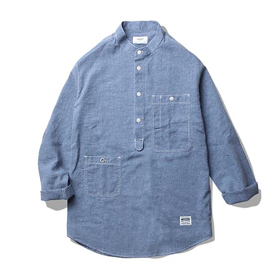 "<span style=""font-family:NanumGothic; font-size:15px; font-weight:bold;"">Vernon Linen Shirt Blue</span><br /><span style=""font-family:NanumGothic; font-size:11px;"">밀도 높은 코튼 린넨 혼방 원단을 사용하여 단단함을 강조하였으며 오버사이즈 풀오버셔츠 형태로 디자인 되어 러프한 느낌으로 착용이 가능한 제품입니다. 넥칼라 디테일이 없는 깔끔한 형태의 밴드카라 형식으로 디자인 된 넥 부분과 가슴쪽의 넉넉한 크기의 워크 포켓, 그 반대쪽의 세컨드포켓이 독특한 레이아웃으로 위치하여 디자인적인 특징을 주었습니다.</span><br /><a href=""http://www.wherehouse.co.kr/shop/shopdetail.html?branduid=724848&xcode=019&mcode=002&scode=&type=Y&sort=order"" target=""_blank""><span style=""font-size:11px; color:#FFE400;"">BUY NOW</span></a>"